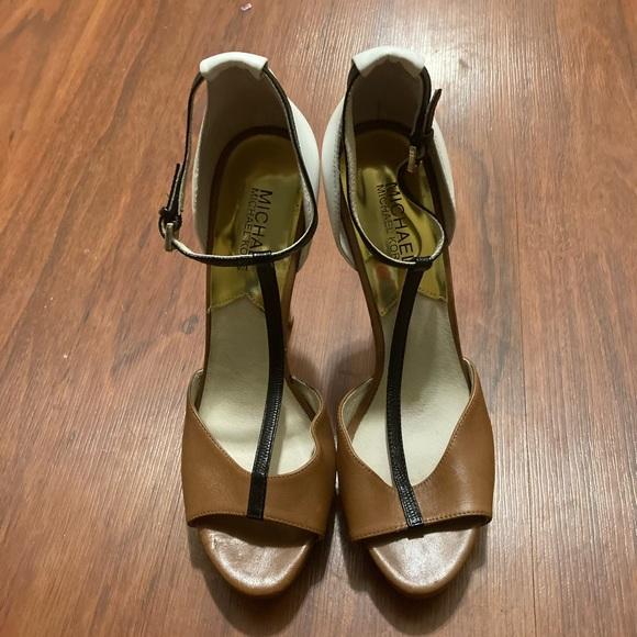 Michael Kors Brenna T-Strap Peep-Toe Dress Sandals